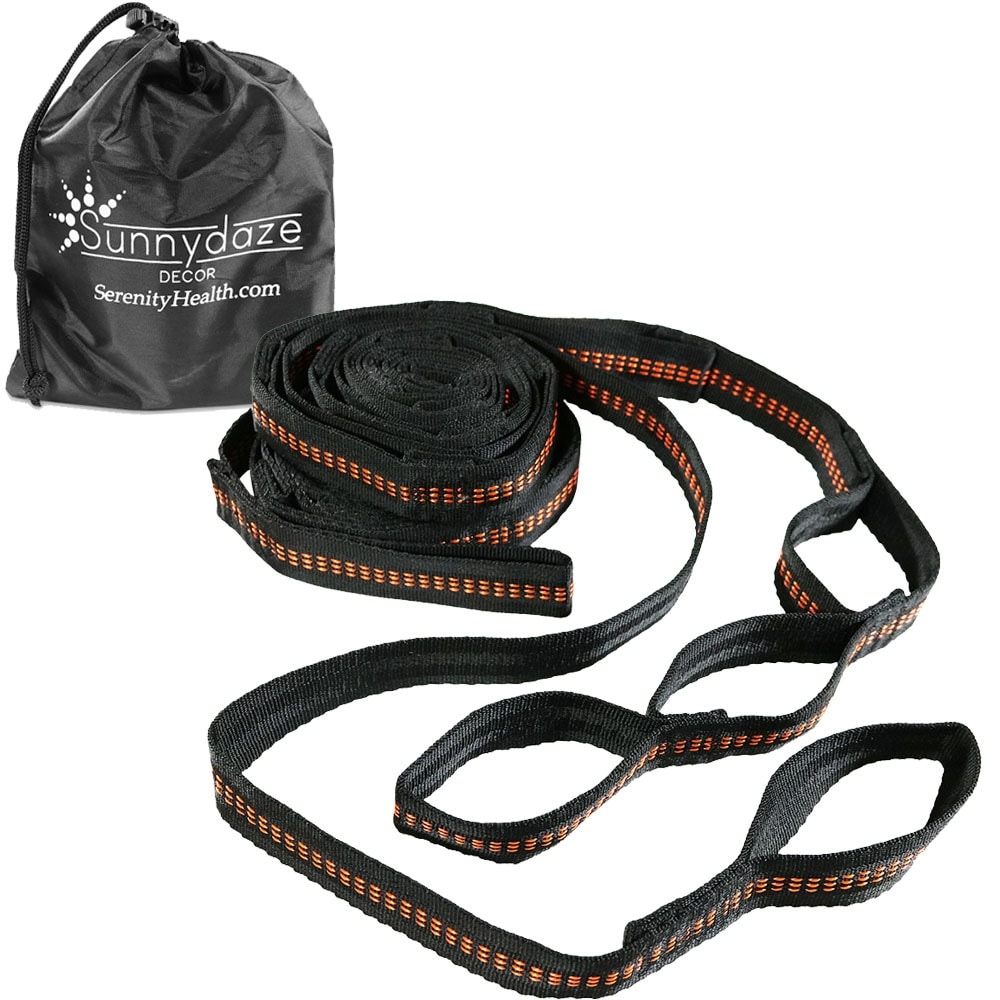 Sunnydaze Tree-Friendly Adjustable Hammock Hanging Straps - Black/Orange
