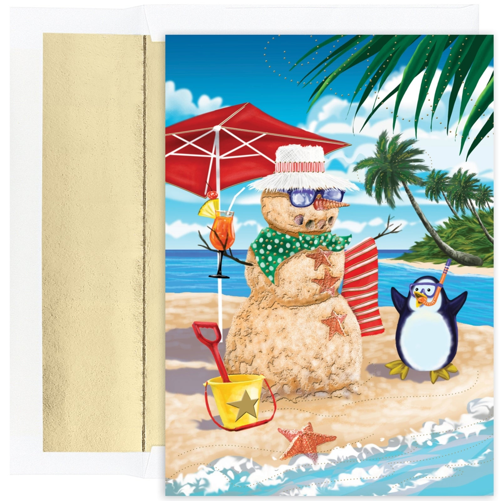 Shop Beachy Sand Snowman Celebrating with Beach Penguin 18 Boxed ...