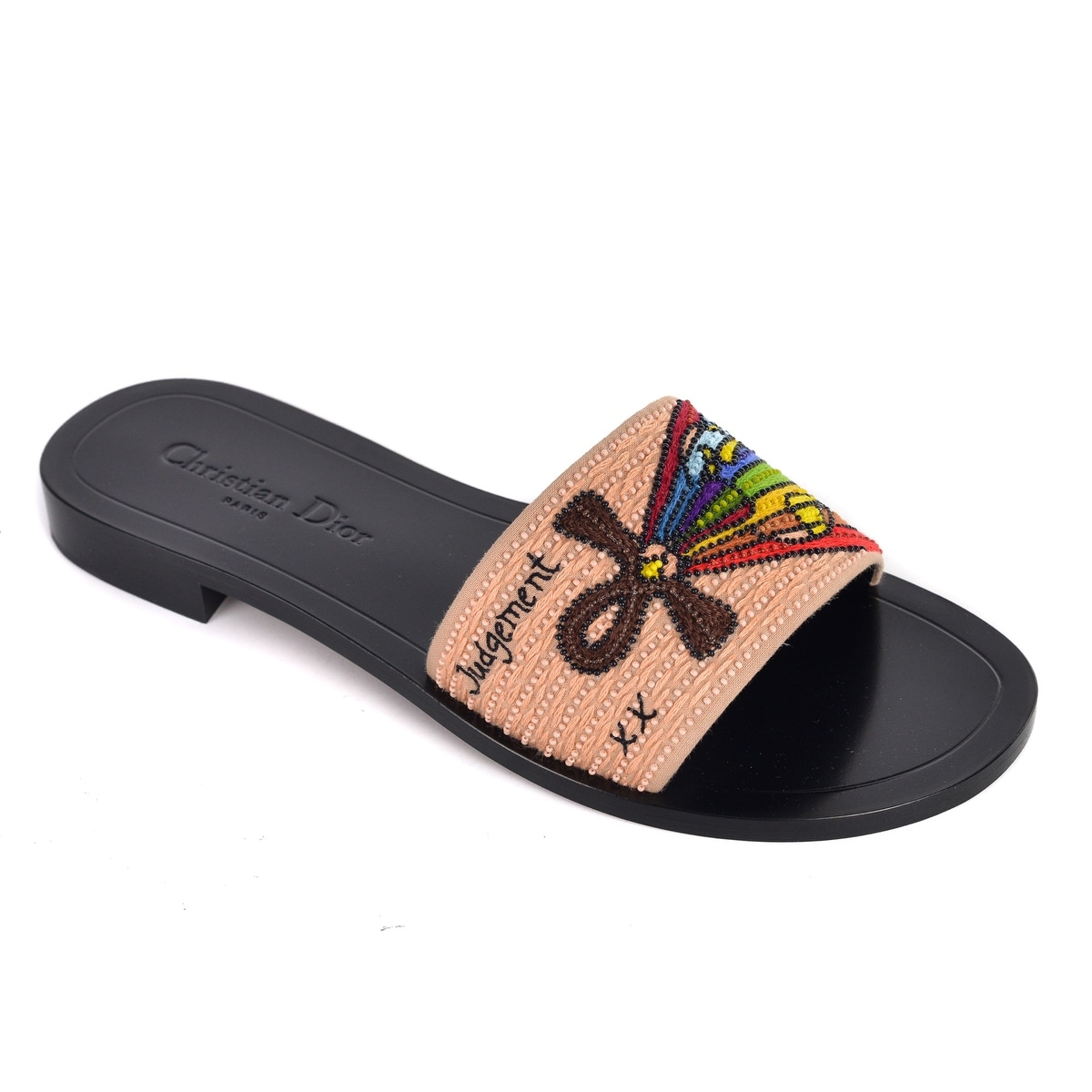 048c8c9c3539 Shop Dior Womens Black Dior Tarot Judgement Embroidered Slippers - Free  Shipping Today - Overstock - 26289979