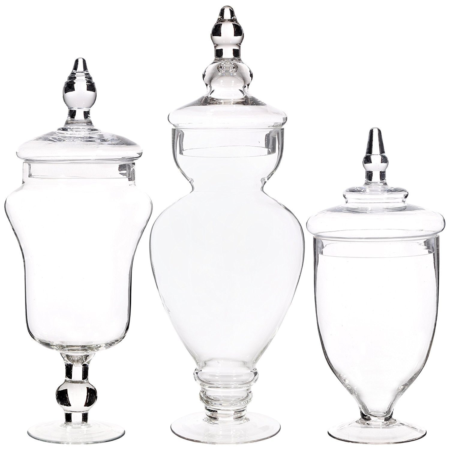 Palais Glware Clear Gl Apothecary Jars Set Of 3 Wedding Candy Buffet Containers Large Free Shipping Today