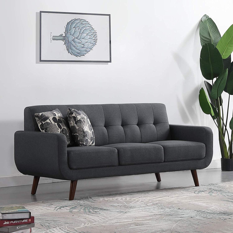 Upholstered Linen Fabric Sleeper Sofa Modern Tufted Loveseat Entertainment  Futon Sofa Bed 3 Seats - Dark grey