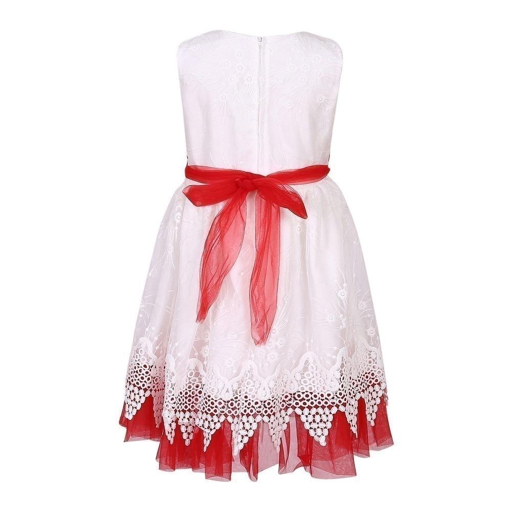 Richie House Little Girls Red White Flower Sash Bridal Party Dress 4