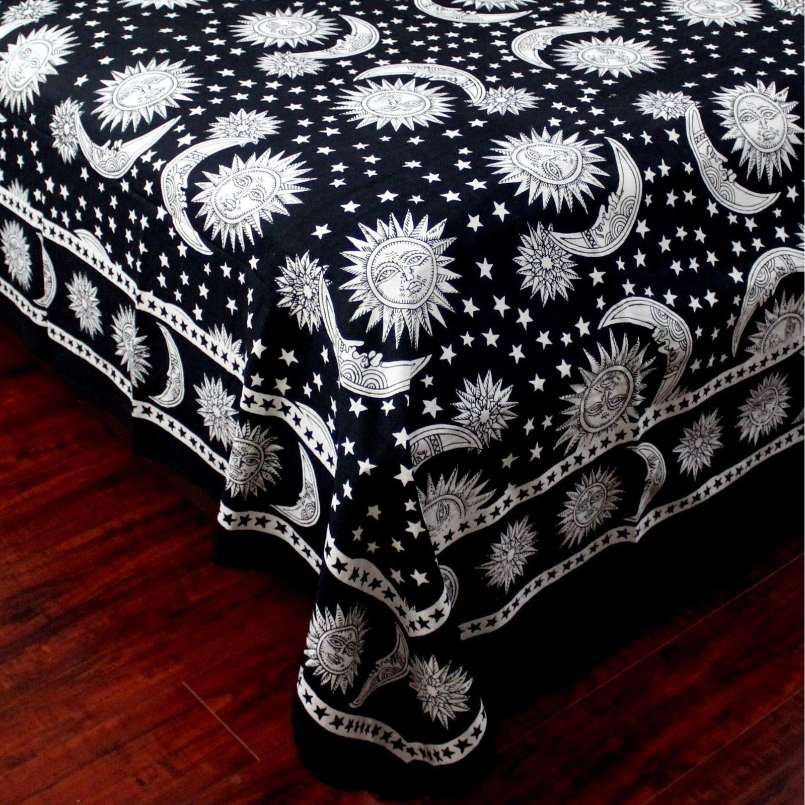 36a07345b8 Shop Cotton Celestial Sun Moon & Star Tapestry Wall Hanging Coverlet  Bedspread Beach Sheet Dorm Decor Black White Twin - Free Shipping On Orders  Over $45 ...