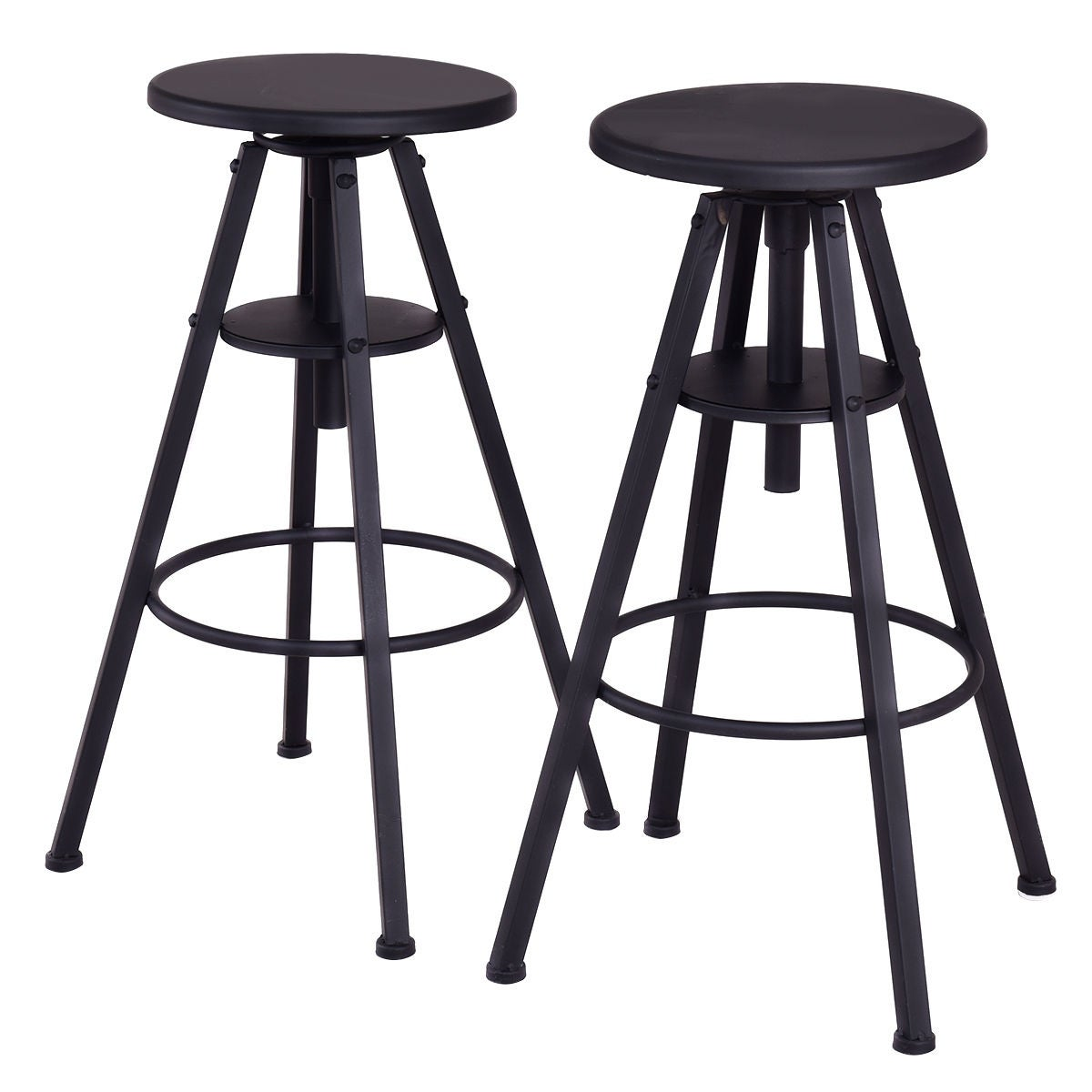 Ordinaire Costway Set Of 2 Vintage Bar Stools Height Adjustable Metal Pub Chairs  Black   Free Shipping Today   Overstock.com   23964151