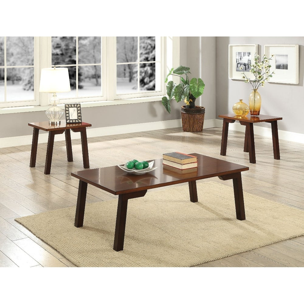 Elegant Wooden Coffee End Table Set 3 Piece Pack Walnut Brown Free Shipping Today 24230622