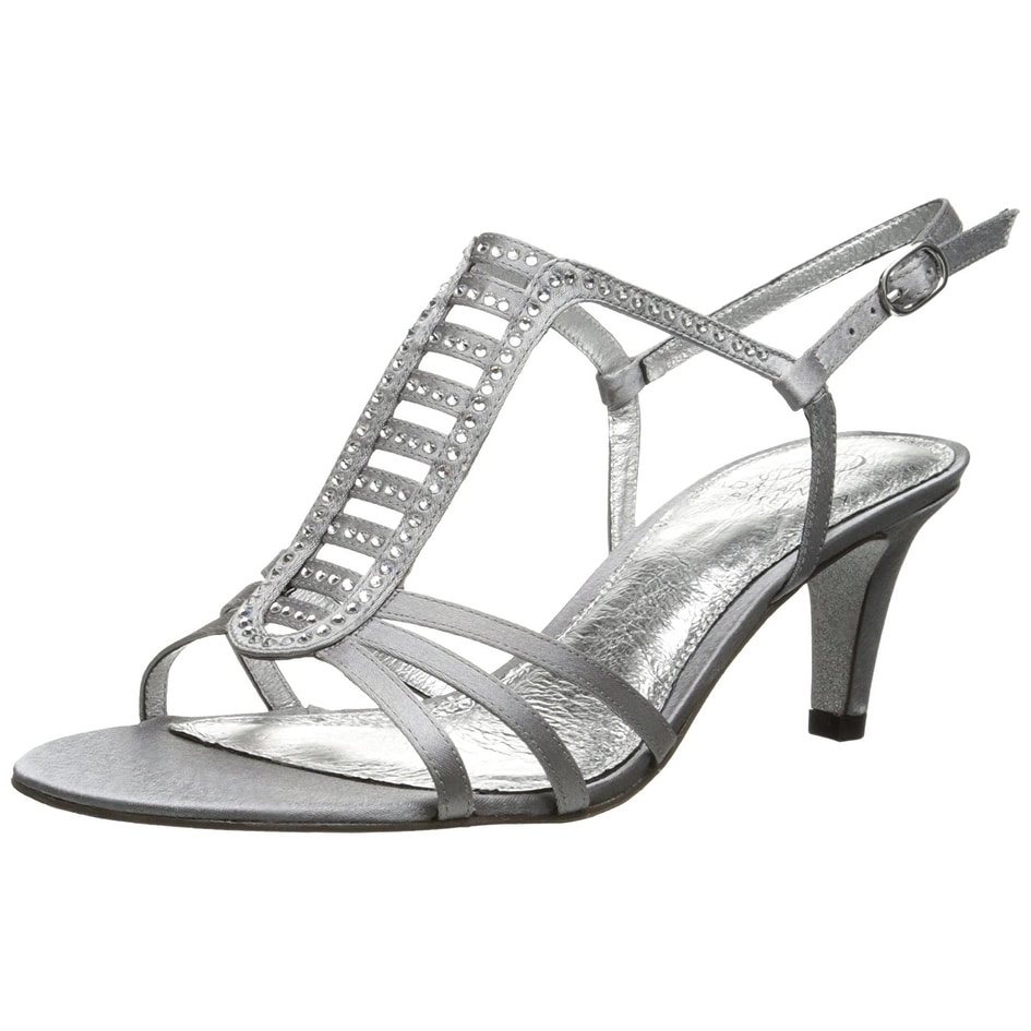 Adrianna Papell Womens Ainsley Satin Open Toe SlingBack Pewter Size 7.0