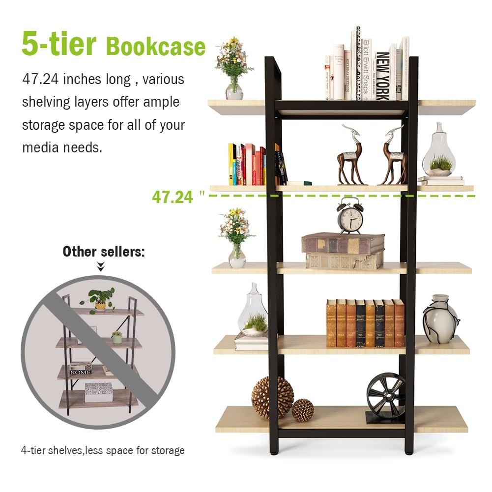 Shop Tribesigns 3 Tier 5 Bookshelf Vintage Industrial Style Bookcase