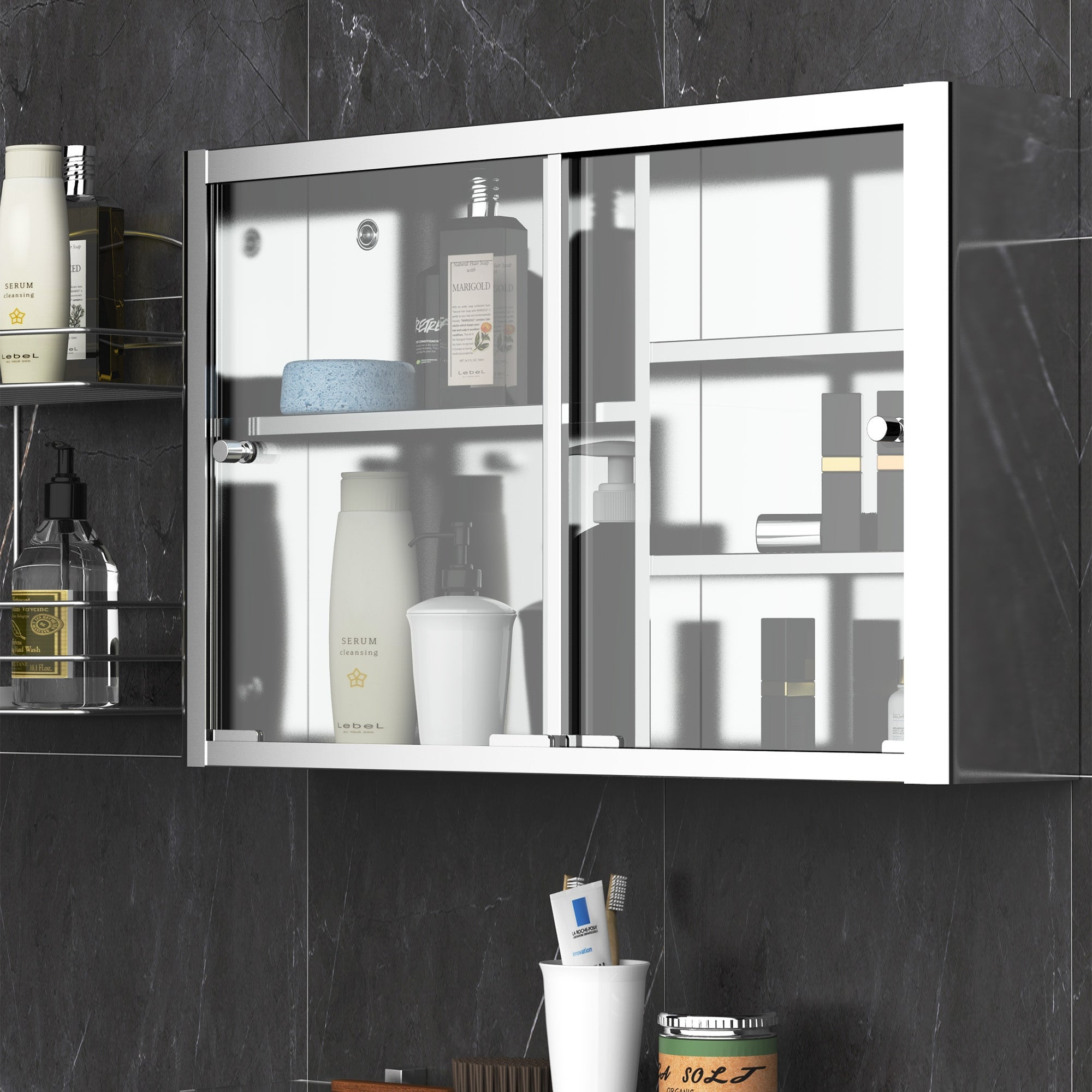 Kleankin 24 X 15 Wall Mounted Bathroom Medicine Cabinet Sliding Door With Storage Shelves Stainless Steel Silver On Sale Overstock 32267761