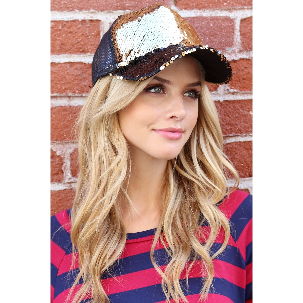 c35d0e1f1189f Shop Riah Fashion s Two Tone Sequin Baseball Cap - Free Shipping On Orders  Over  45 - Overstock - 25364375