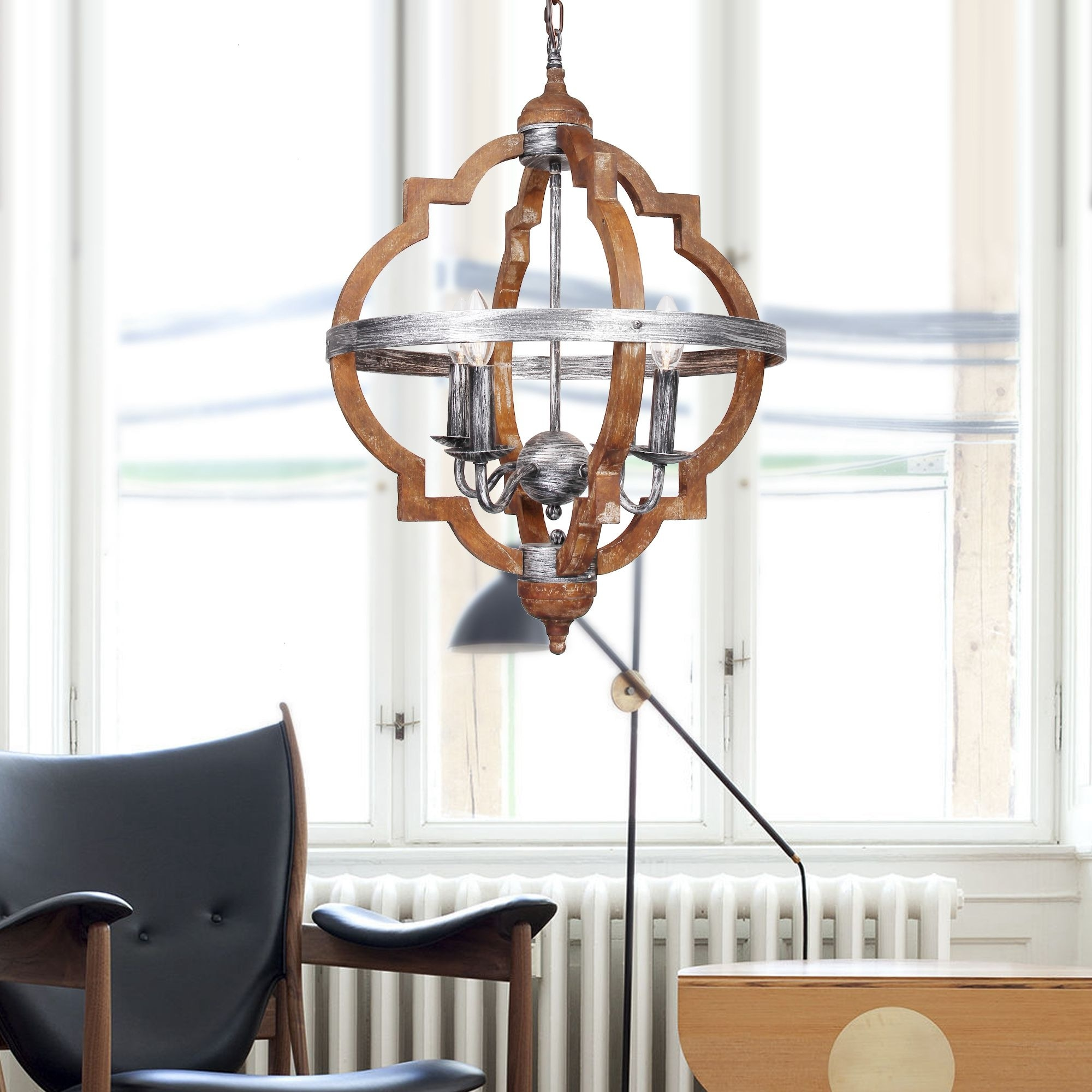 Shop rustic 4 light distressed wood chandelier free shipping today overstock com 20671529