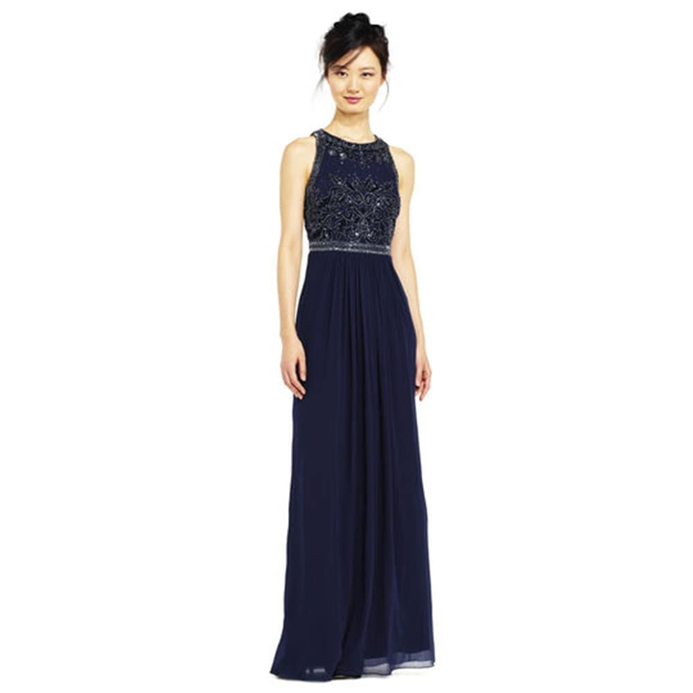 Shop Adrianna Papell Beaded Filigree Halter Gown with Chiffon Skirt ...