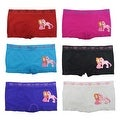 Girl's 6 Pack Seamless Girl & Pony Print Underwear Boyshorts Panties