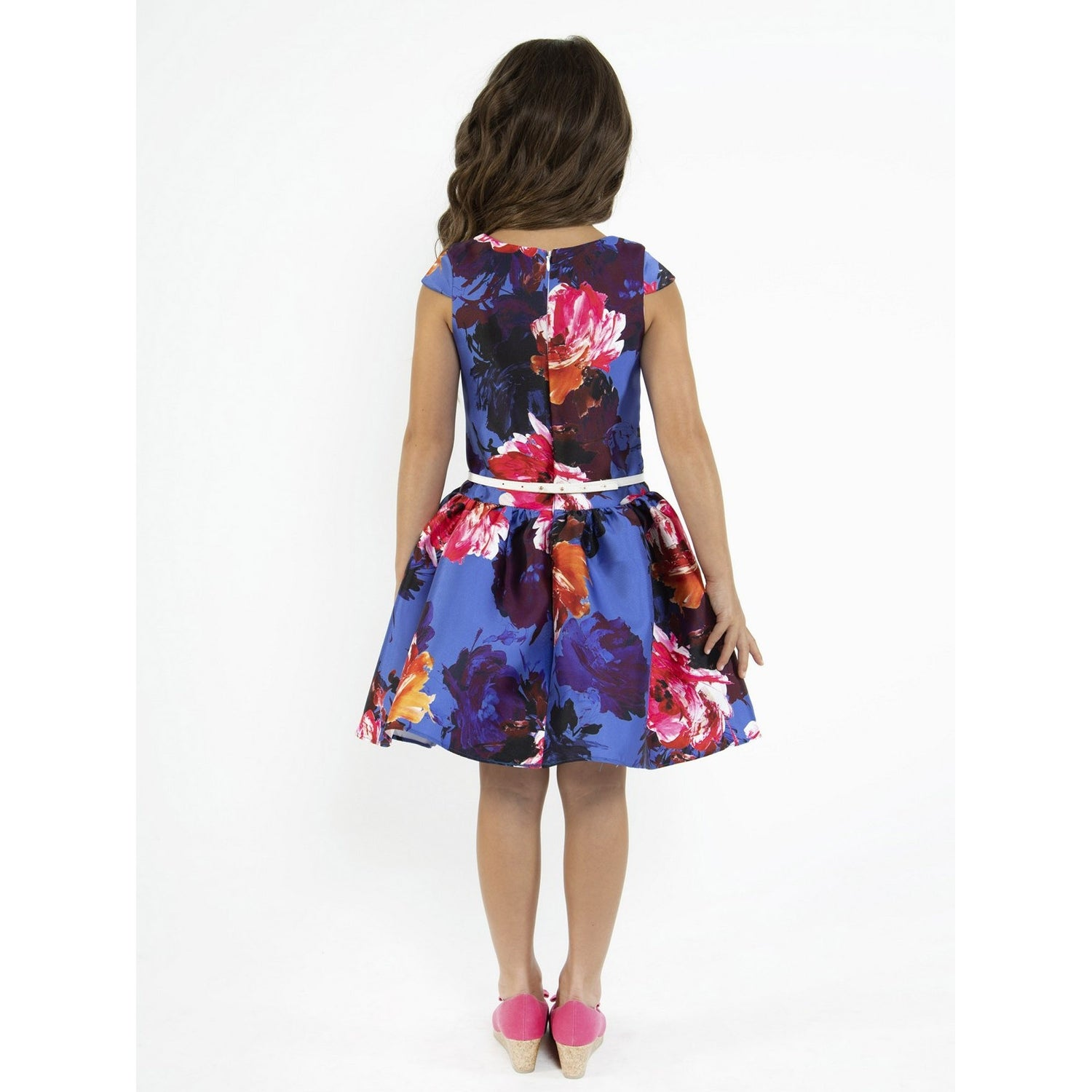 df6825f4fb Shop Kids Dream Little Girls Royal Blue Floral Print Mikado Flower Girl  Dress - Free Shipping Today - Overstock - 23159689
