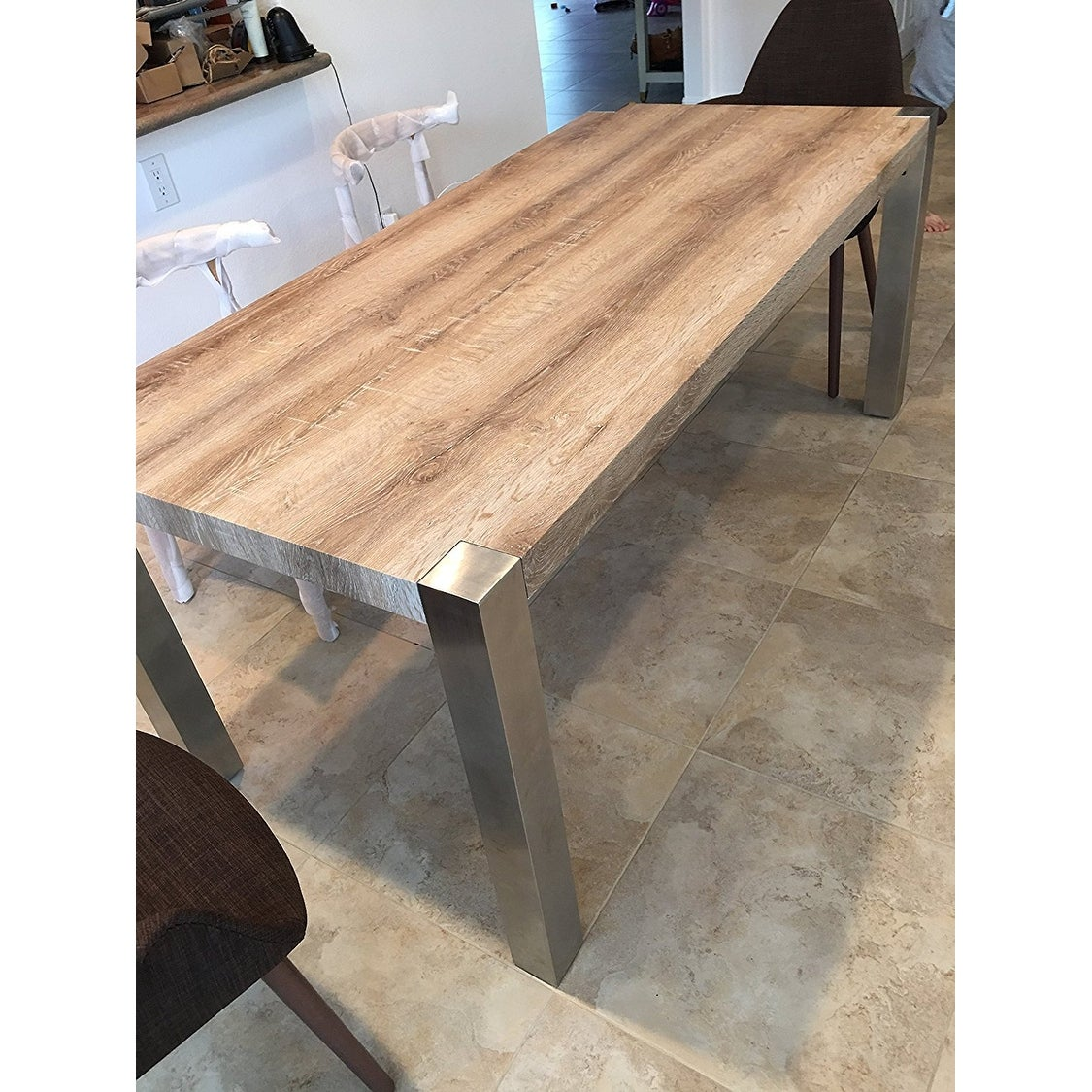 Shop 2xhome modern designer wood top dining table with metal legs strong sturdy frame dining room table 70 75 inches free shipping today