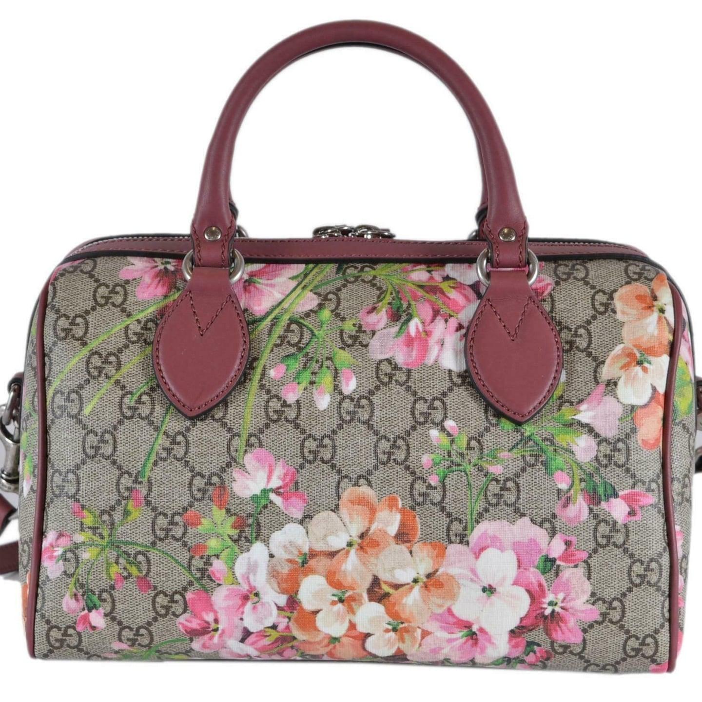ab2d63ed5327f Shop Gucci Women s 409529 SMALL GG Supreme BLOOMS Convertible Boston Bag -  Cream Multi - Free Shipping Today - Overstock - 27464622