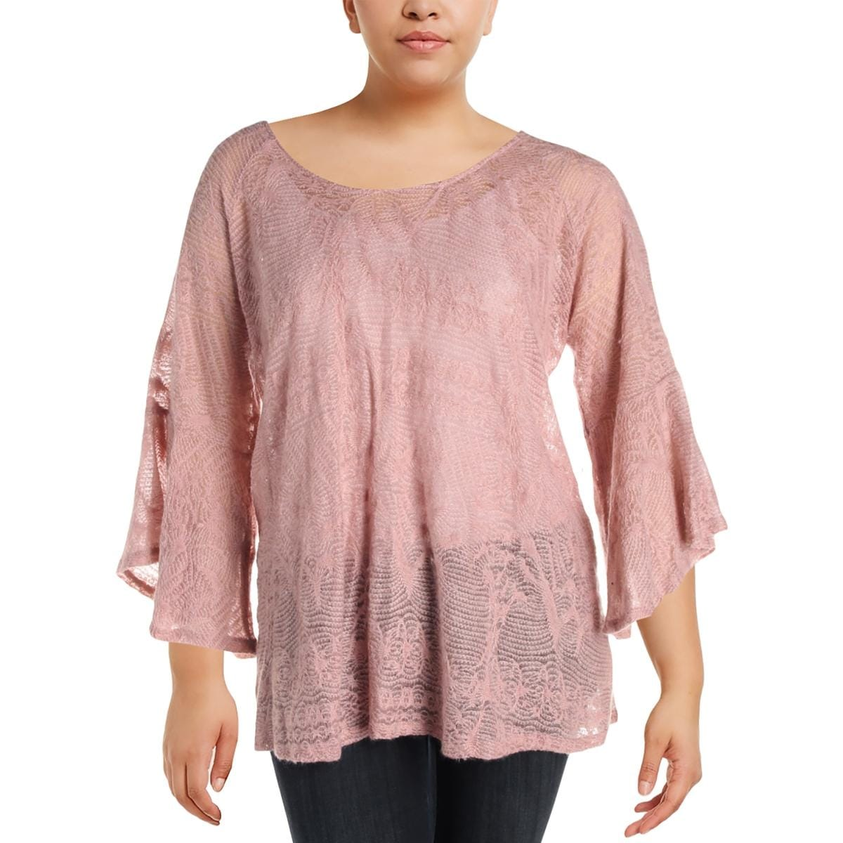 Shop Jessica Simpson Womens Plus Hyne Pullover Sweater Sheer Split ...