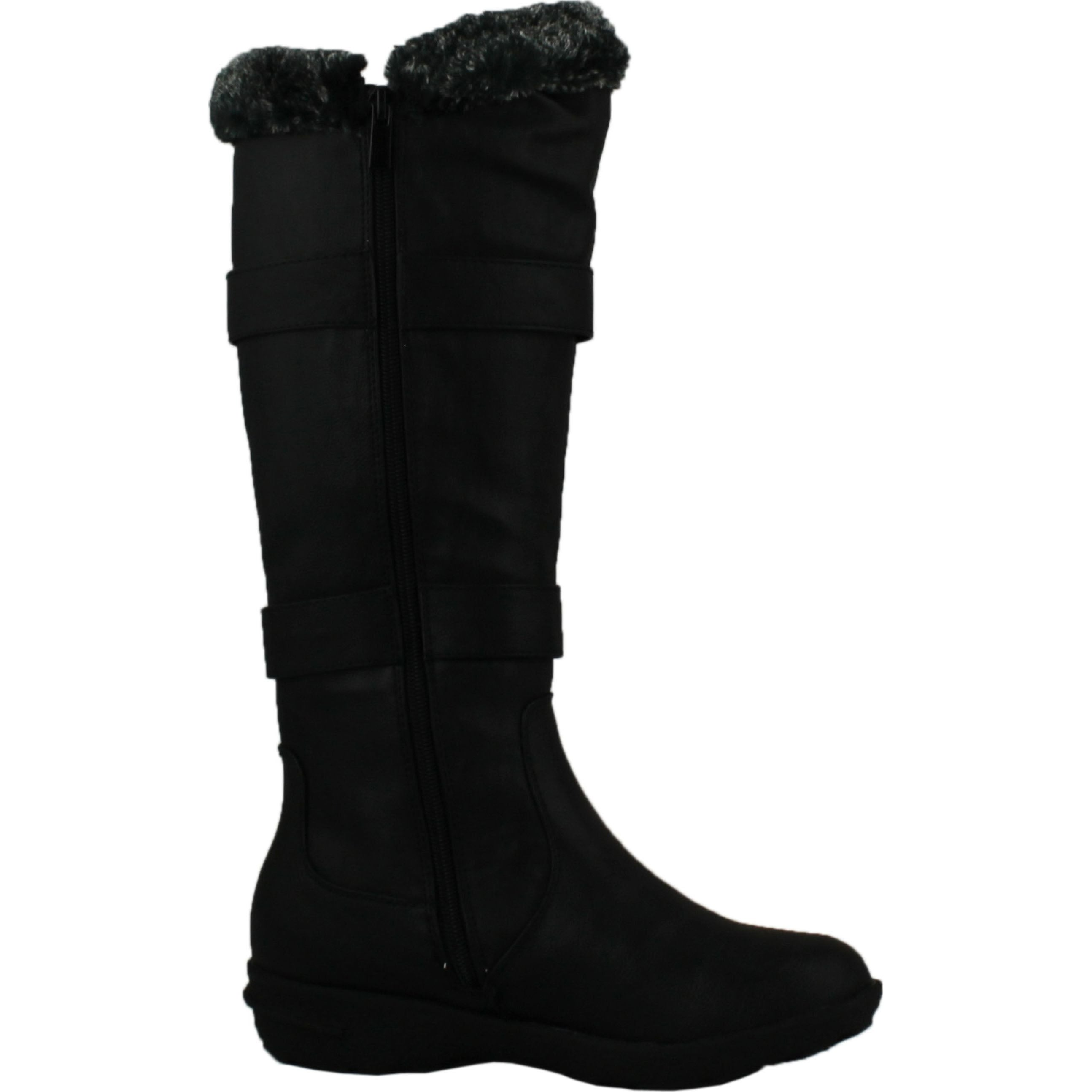 60df79fa45a Shop Forever Aura-43 Womens Double Straps Knee High Boots Winter Boots -  Black - Free Shipping On Orders Over  45 - Overstock - 14312807
