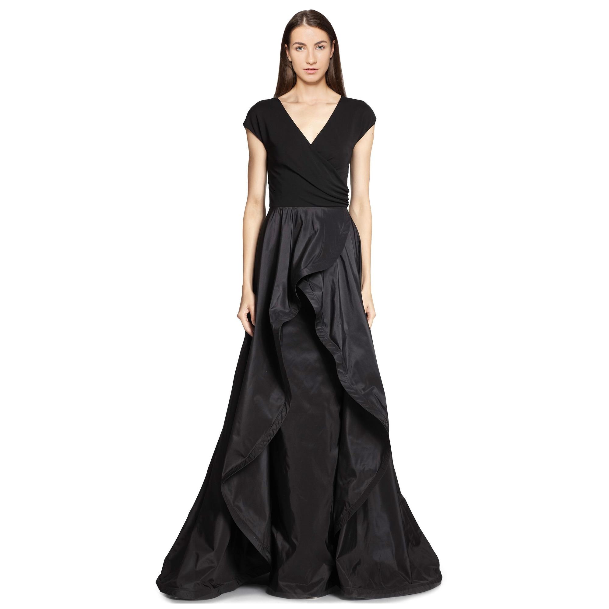 Shop Teri Jon Jersey Taffeta Surplice Neckline Evening Gown Dress ...