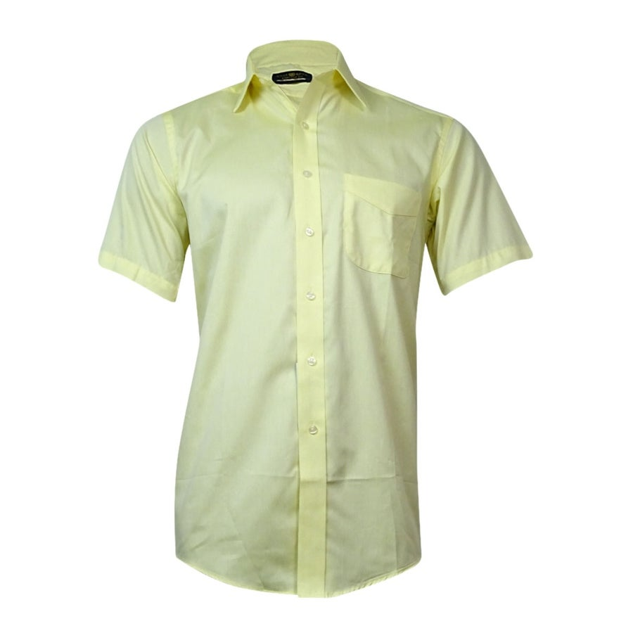 Shop Club Room Mens Solid Short Sleeve Shirt Yellow 145