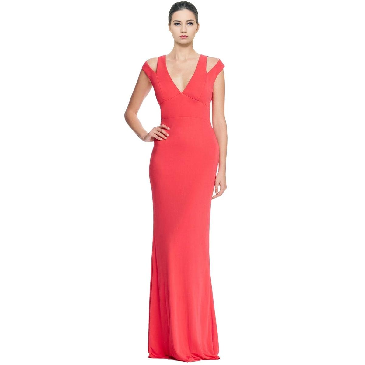 Shop ABS by Allen Schwartz Cutout Jersey Cold Shoulder Evening Gown ...