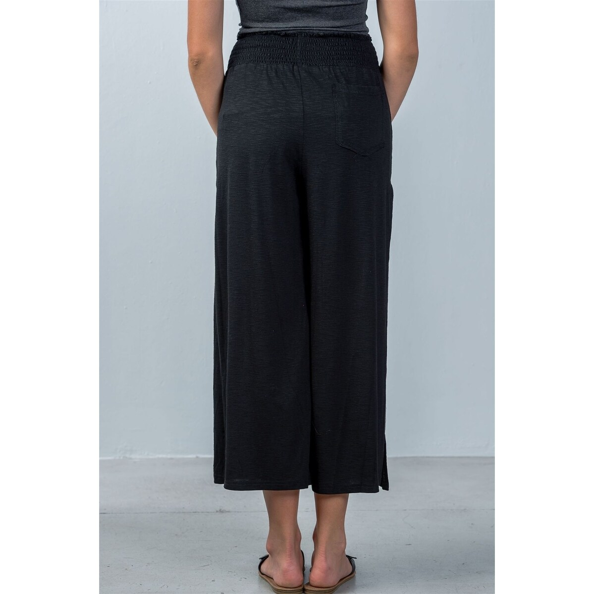048b35fe042f1 Shop Ladies Fashion Elastic Waistband Side Slit Cropped Pants - Size ...