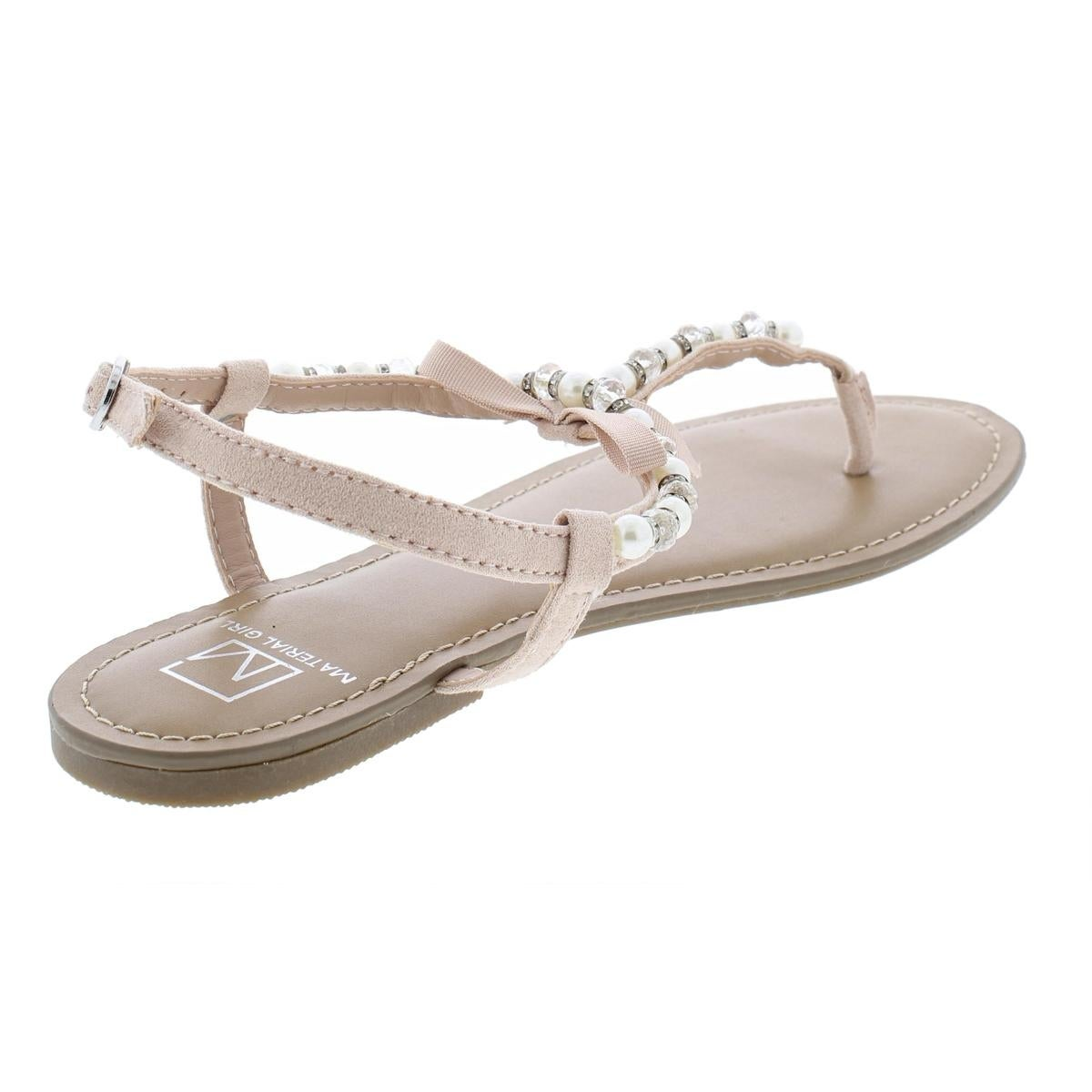 5eccc8343f3 Shop Material Girl Womens Perlie Flat Sandals Faux Leather T-Strap - 6.5  medium (b