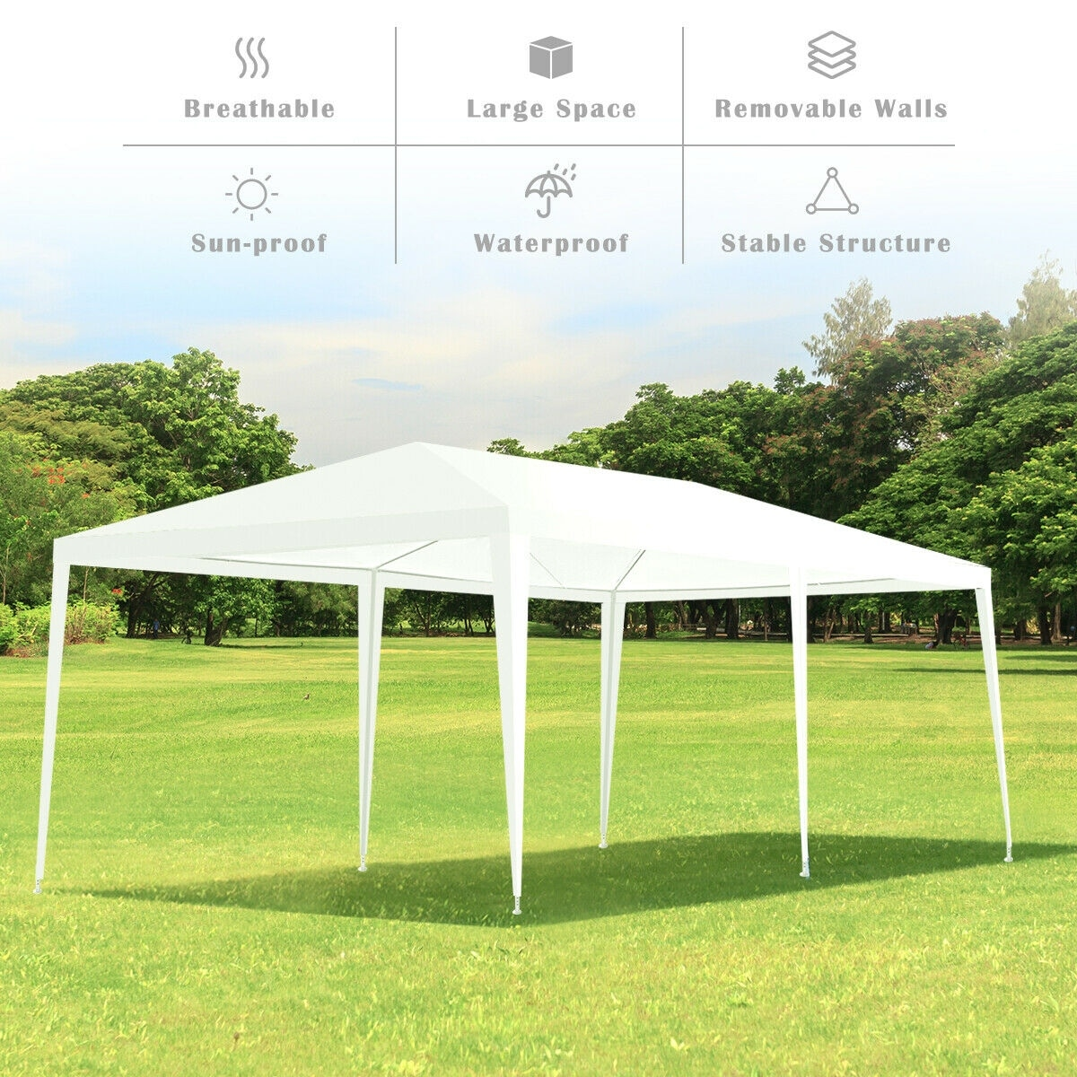 Costway Wedding Tent Canopy Party 10'x20' Heavy Duty Gazebo Cater Event  W/Side Walls