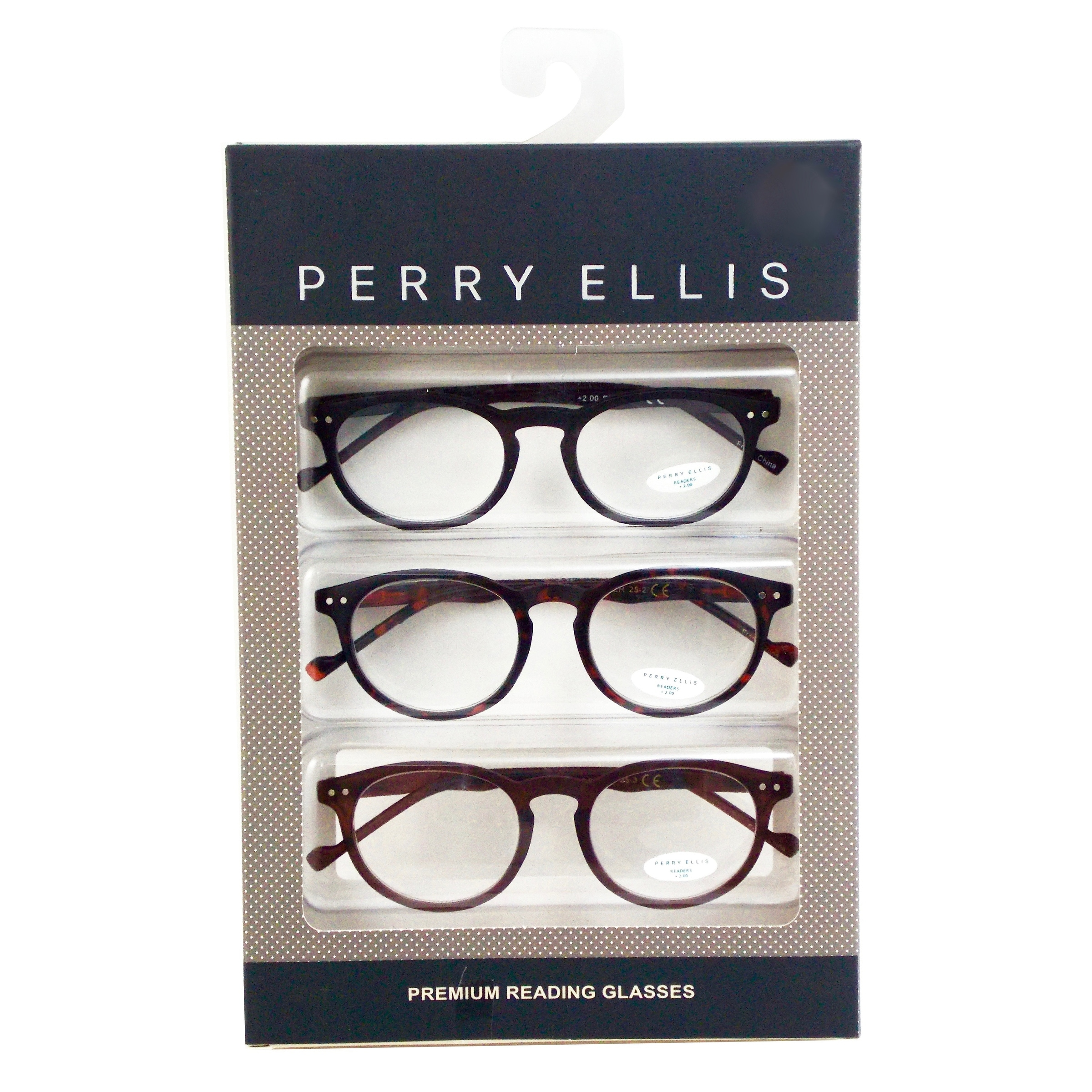 d074bc3bf17 Shop Perry Ellis Mens 3 Multi Pack Metal Reading Glasses +1.5 Blk Trt Brn  PEBX25