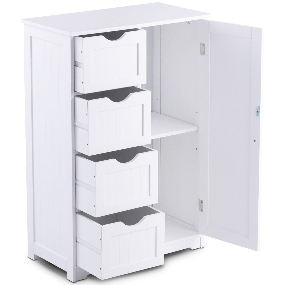 Costway Wooden 4 Drawer Bathroom Cabinet Storage Cupboard 2 Shelves Free Standing White Shipping Today 19817490