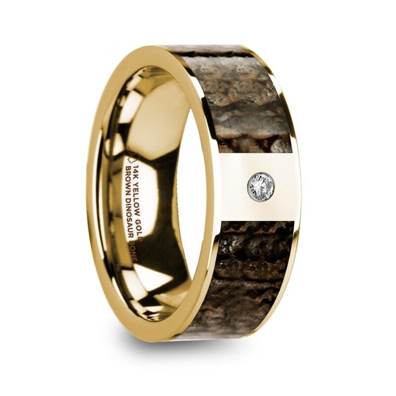 Philandros Polished 14k Yellow Gold With Brown Dinosaur Bone Inlay Men S Wedding Band Diamond 8mm Free Shipping Today
