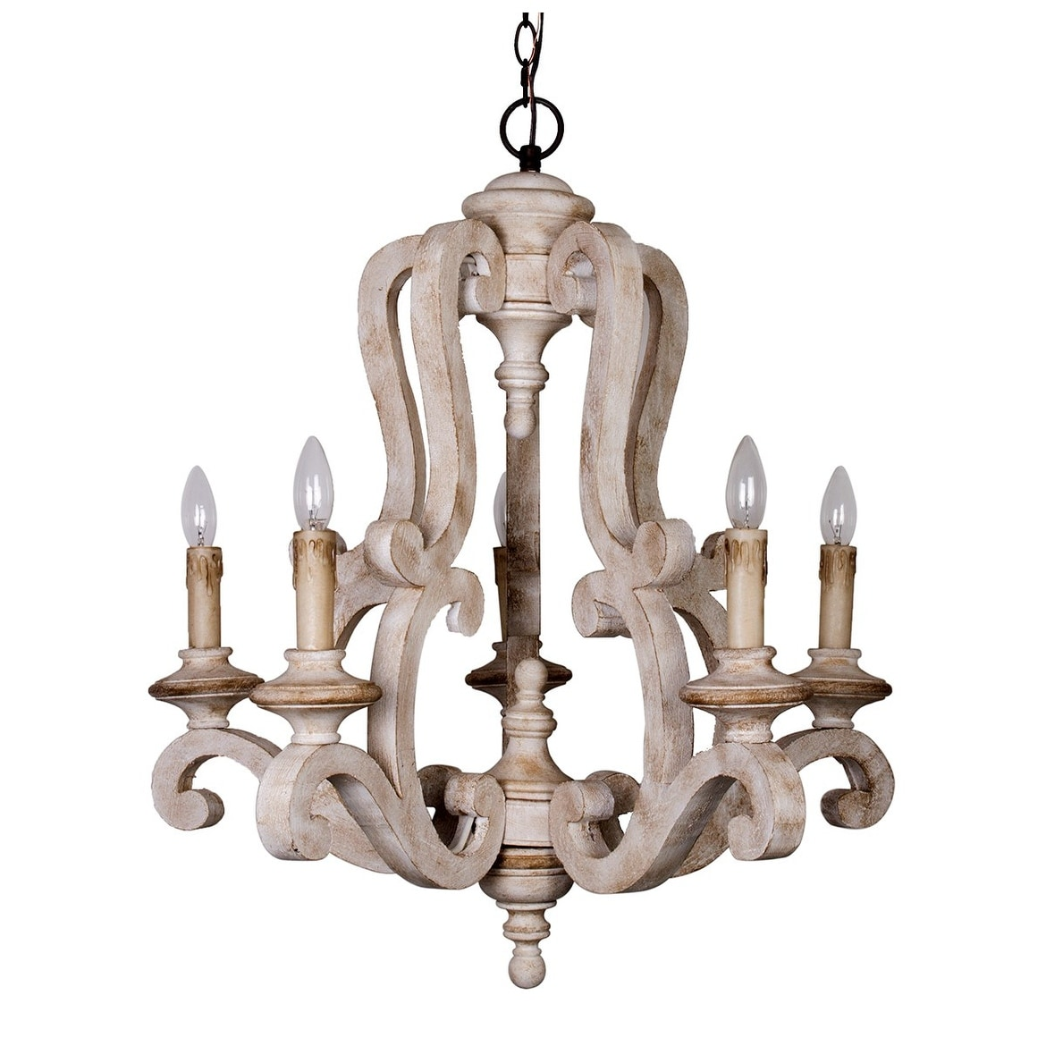 Shop farmhouse distressed antique white 5 light wood chandeliers shop farmhouse distressed antique white 5 light wood chandeliers on sale free shipping today overstock 19502082 aloadofball Images