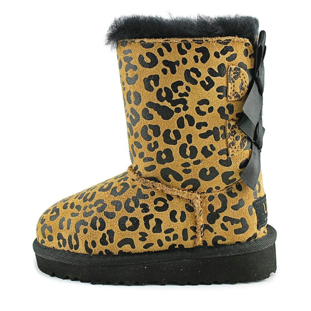 6795eebea2d Ugg Australia Bailey Bow Leopard Toddler Round Toe Suede Tan Boot
