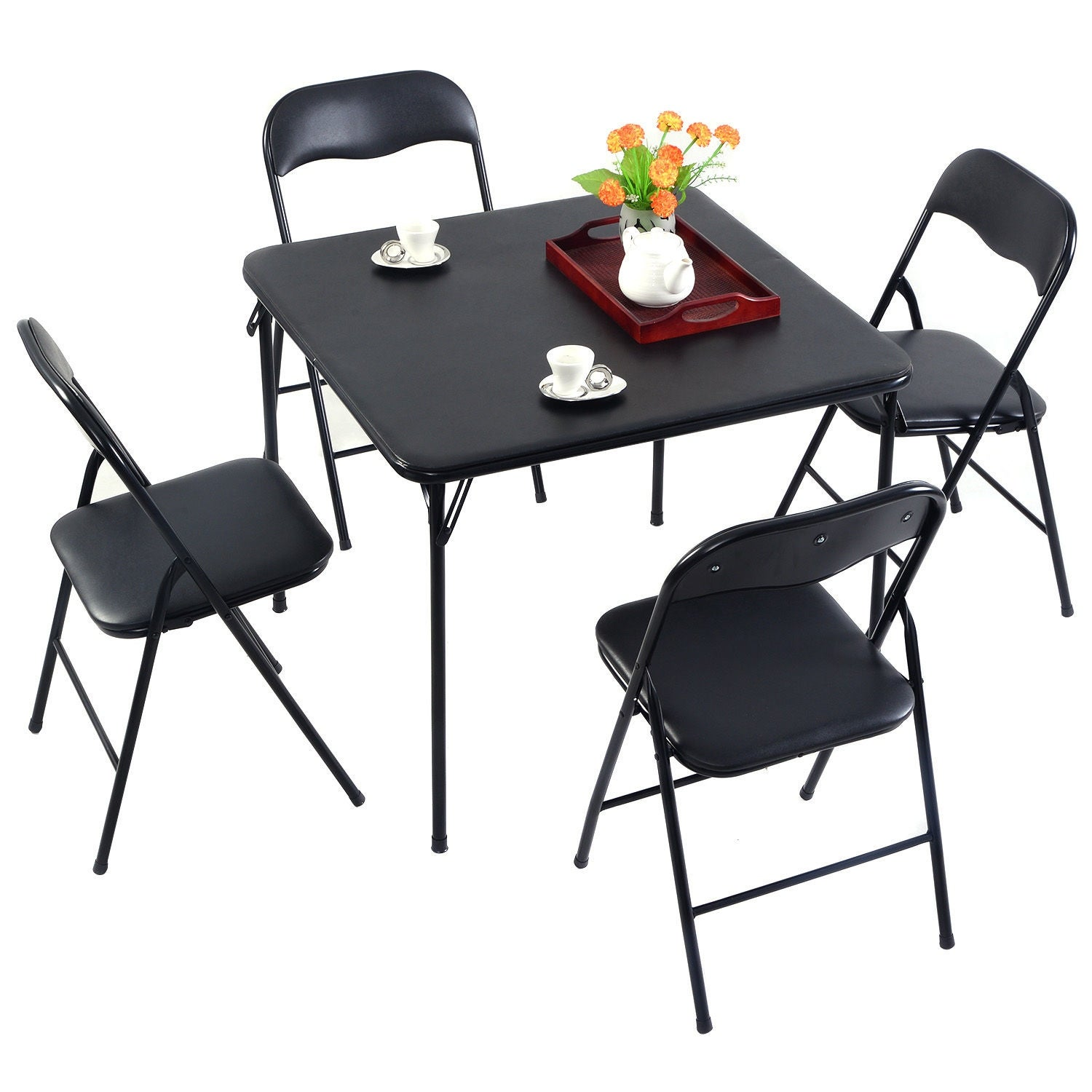 Costway 5PC Black Folding Table Chair Set Guest Games Dining Room Kitchen Multi-Purpose - Free Shipping Today - Overstock - 24631580  sc 1 st  Overstock.com & Costway 5PC Black Folding Table Chair Set Guest Games Dining Room ...