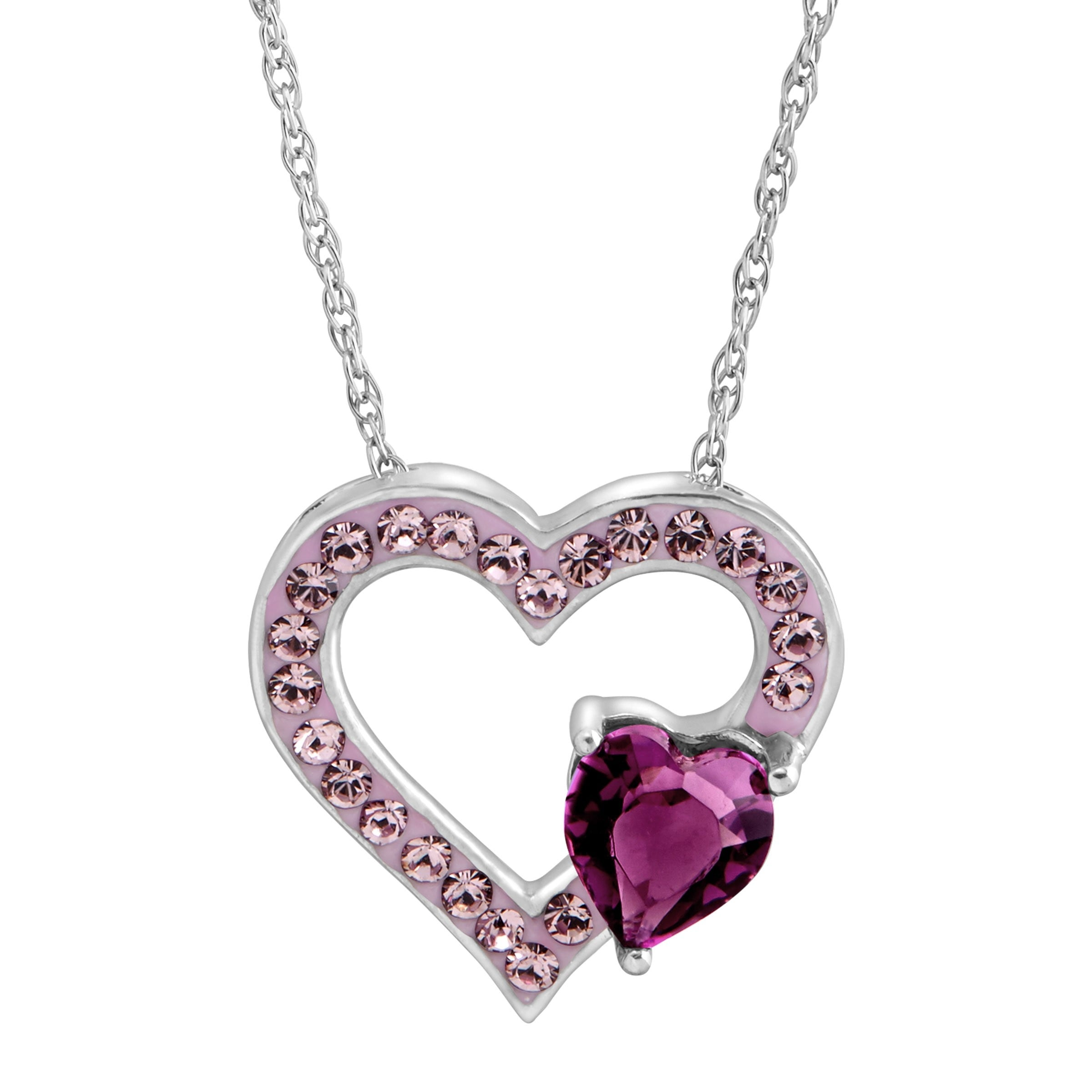 l sterling center products heart necklace jewel adjustable silver open
