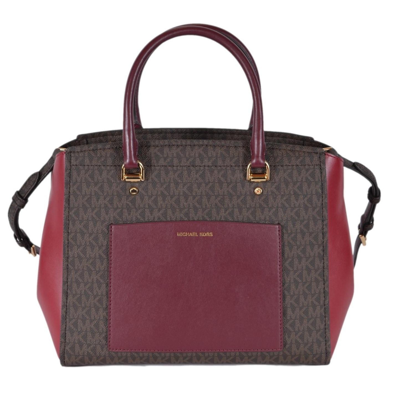 37c926da527e Shop Michael Kors Large Brown Burgundy Logo Benning Handbag Satchel ...