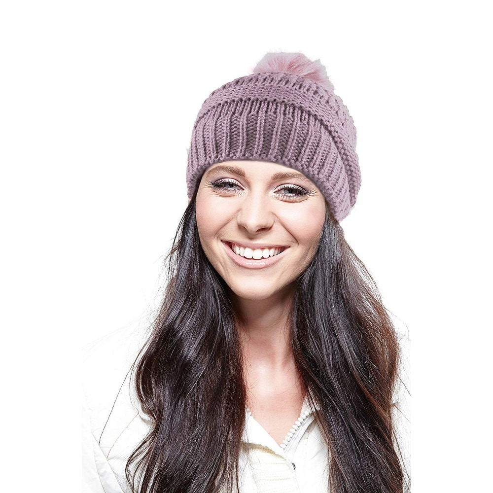 2e0334448 Chunky Cable Knit Beanie Hat With Pom Pom - Winter Soft Stretch Cap Hat