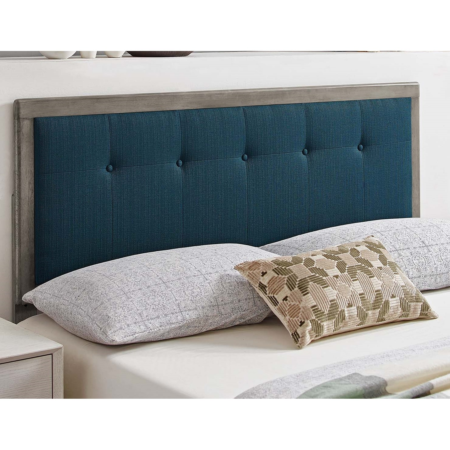 Marlin Traditional Blue Fabric Button Tufted King Size Grey Wooden Headboard On Sale Overstock 32158002