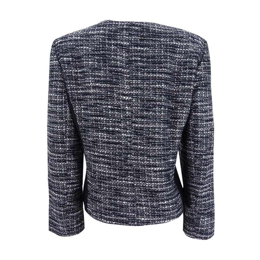 696140318ea1c Shop Tahari ASL Women s Plus Size Metallic Boucle Jacket - Black Grey Ivory  - 24W - On Sale - Ships To Canada - Overstock.ca - 22992639