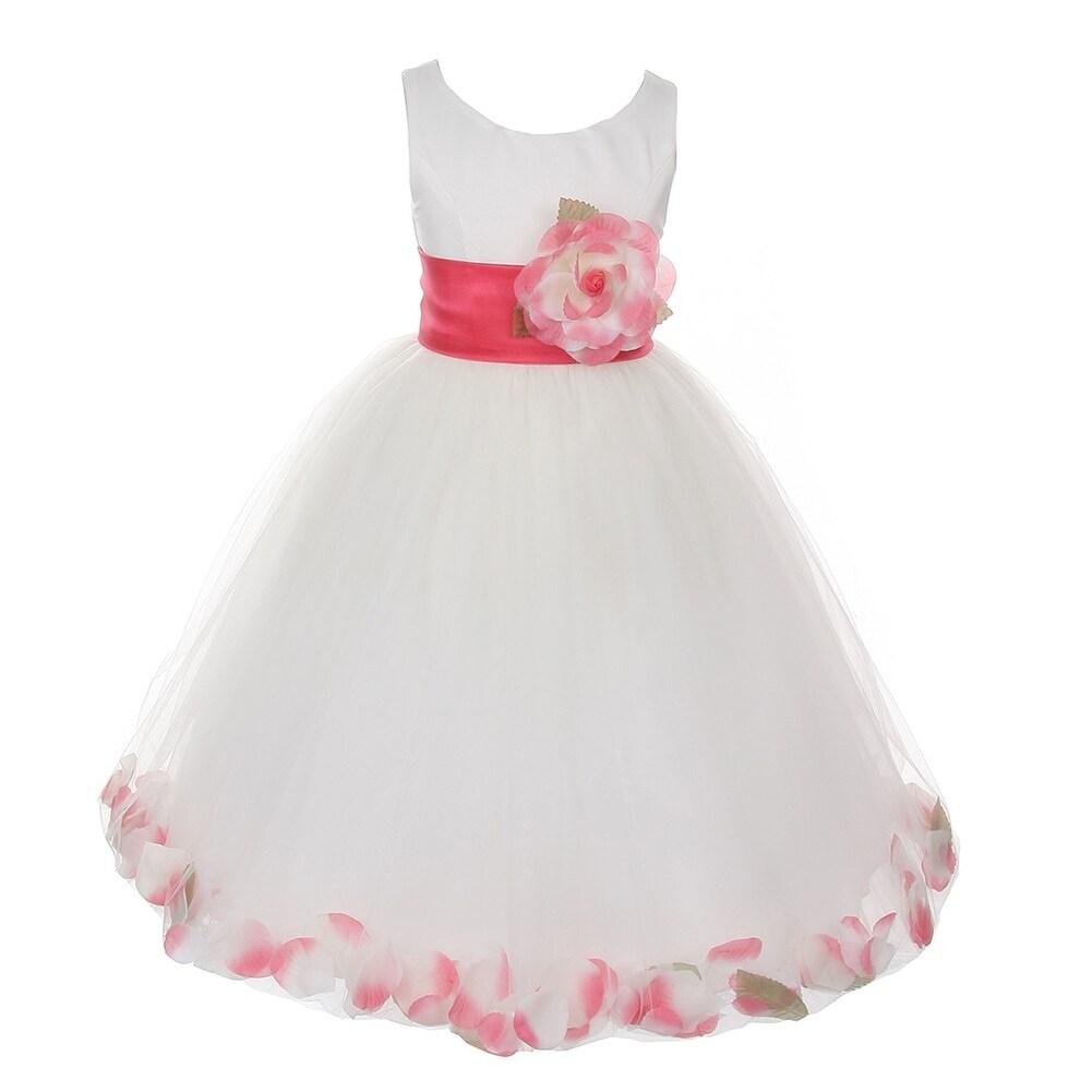 1a9ec67195a9 Shop Little Girls Ivory Coral Petal Adorned Satin Tulle Flower Girl ...