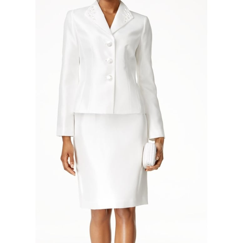 80dabc38518ad Shop Kasper NEW White Natural Women s Size 8 Embellished Skirt Suit Set -  Free Shipping Today - Overstock - 18840665