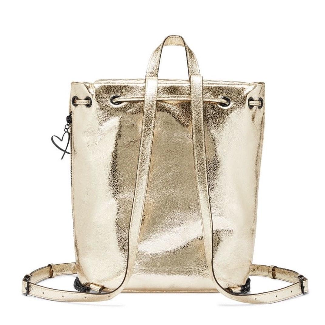 4865febc765c8 Victoria's Secret Angel Crackle V-Quilt Backpack Bag Metallic Gold Faux  Leather