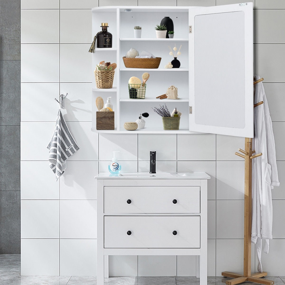 Multipurpose Wall Surface Bathroom Storage Cabinet Mirror Free Shipping Today 20461949