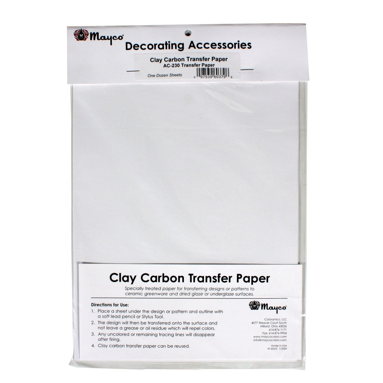 Shop Mayco Clay Carbon Transfer Paper For Ceramics Pack Of 12