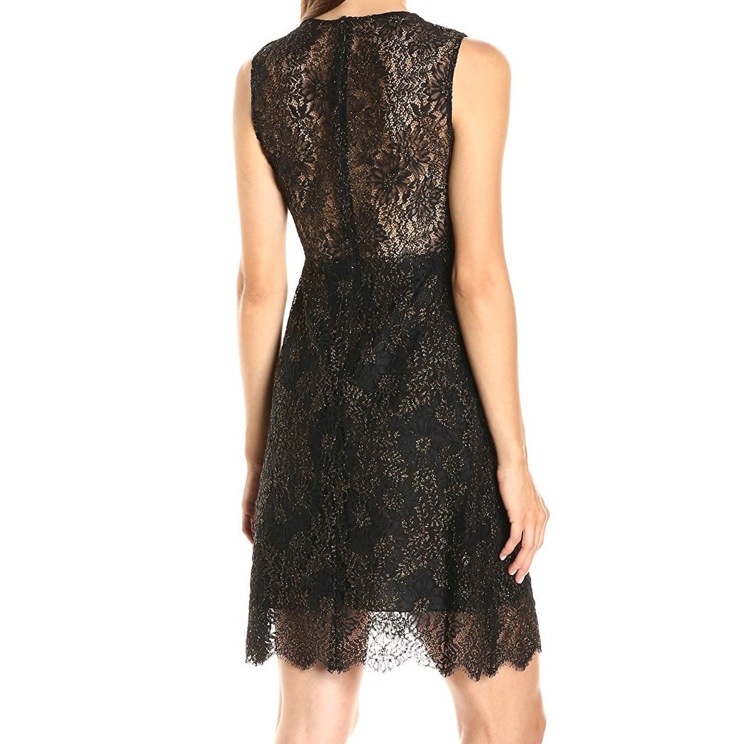 373f976139 Shop Elie Tahari NEW Black Womens Size 4 Anne Metallic Lace Sheath Dress -  Free Shipping Today - Overstock - 20179547