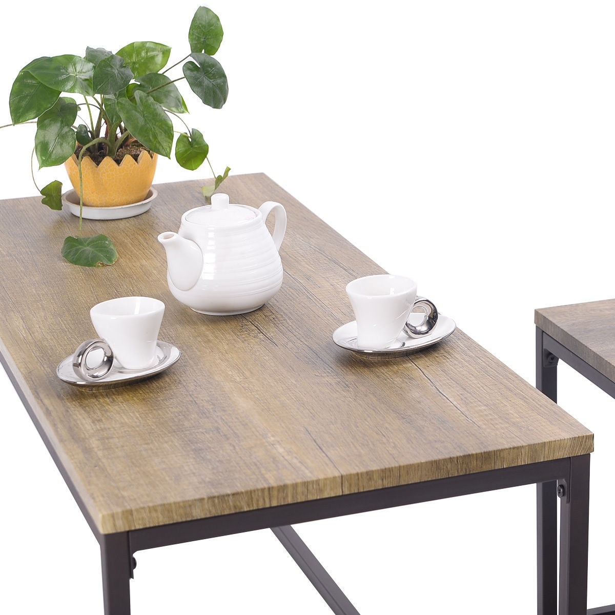 Shop Costway 3 Piece Nesting Coffee & End Table Set Wood Modern ...