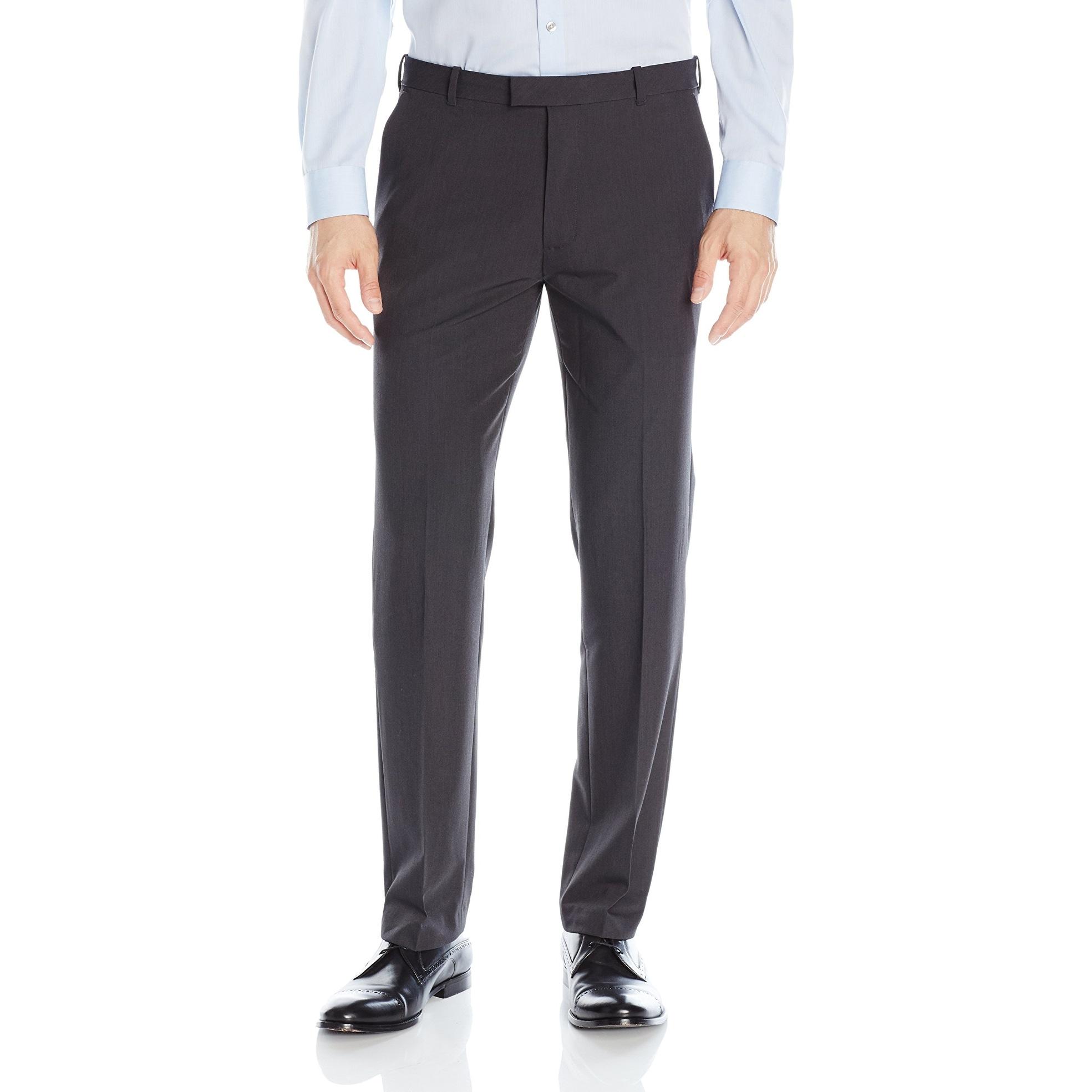 4b4731ed41 Shop Van Heusen Black Mens Size 42x30 Flat Front Straight Fit Dress ...