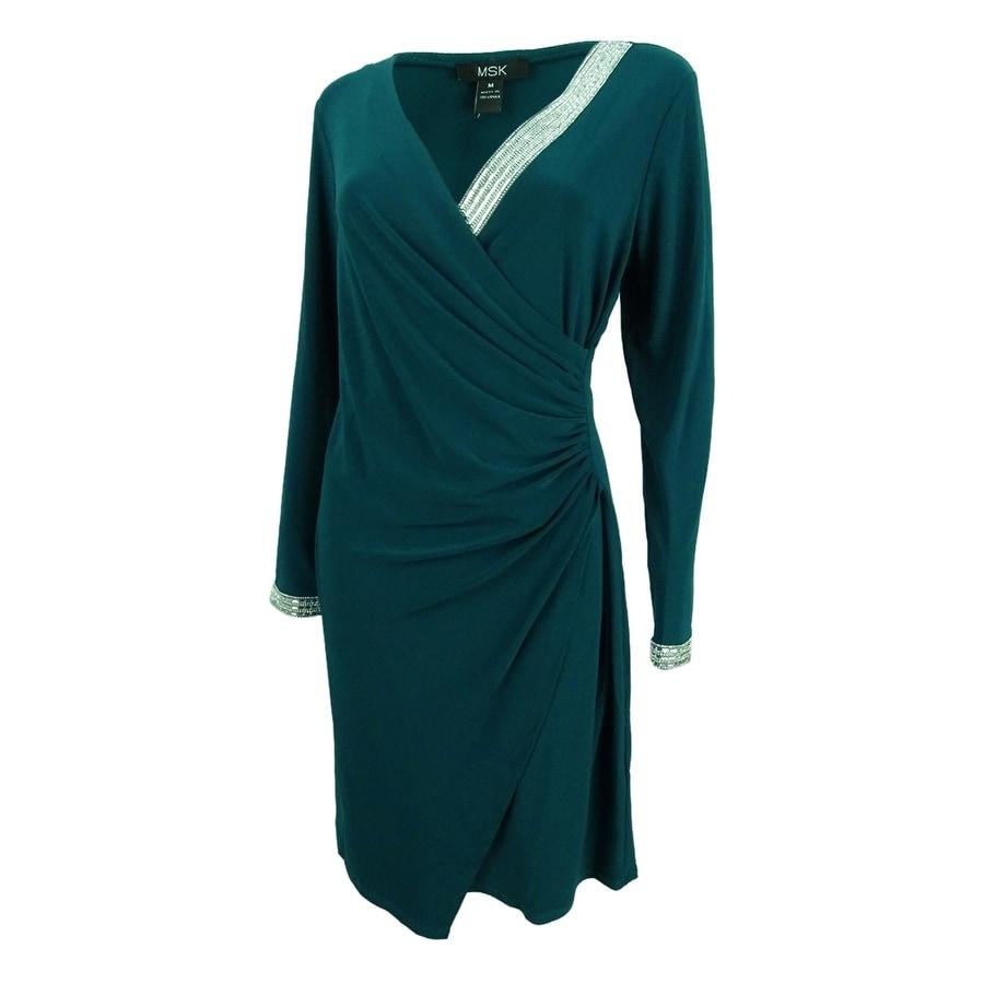 a37b0ee72dde8 Shop MSK Women's Rhinestone Sheath Dress (M, Neo Emerald) - neo emerald - m  - Free Shipping On Orders Over $45 - Overstock - 23081594
