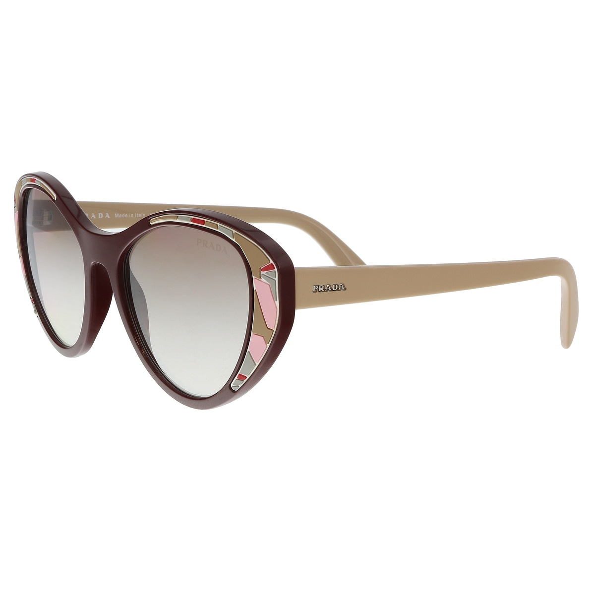 2dafbd7a31b17 Shop Prada PR 14US LJ84O0 Bordeaux Cat eye Sunglasses - 55-18-140 ...