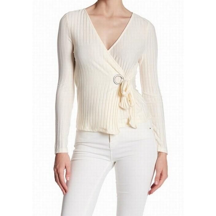 Top Shop New White Ivory Womens Size 2 Grommet Faux Wrap Knit Top