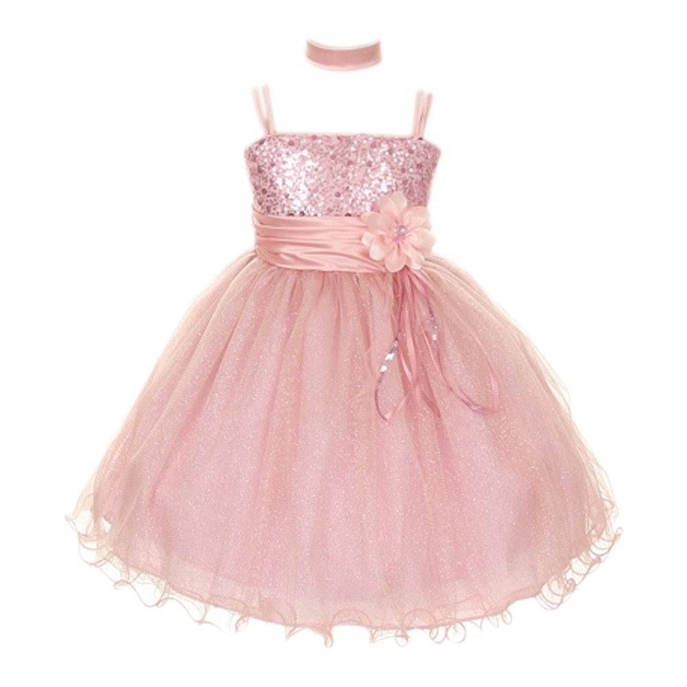 Girls dusty pink floral sash adorned sequin junior bridesmaid girls dusty pink floral sash adorned sequin junior bridesmaid dress 8 18 free shipping today overstock 24314566 ombrellifo Choice Image